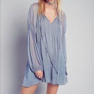 Free People Lini Smocked Mini Dress Sheer Sz L